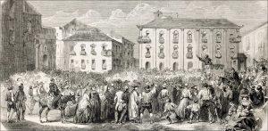 Public orator haranguing a crowd (18th century woodcut)